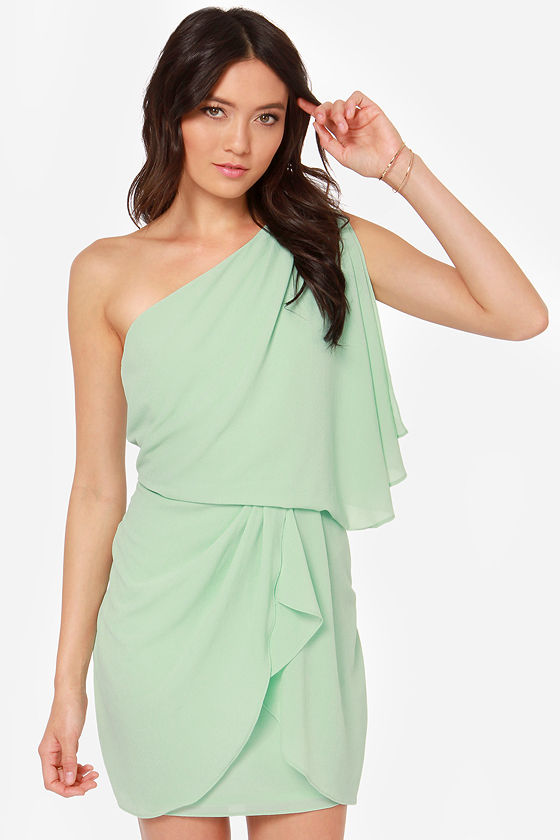Gracefully Grecian One Shoulder Mint Dress at Lulus.com!