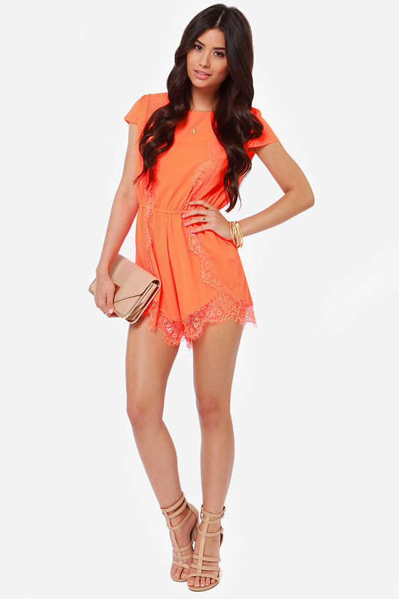 Center Stage Neon Orange Lace Romper at Lulus.com!
