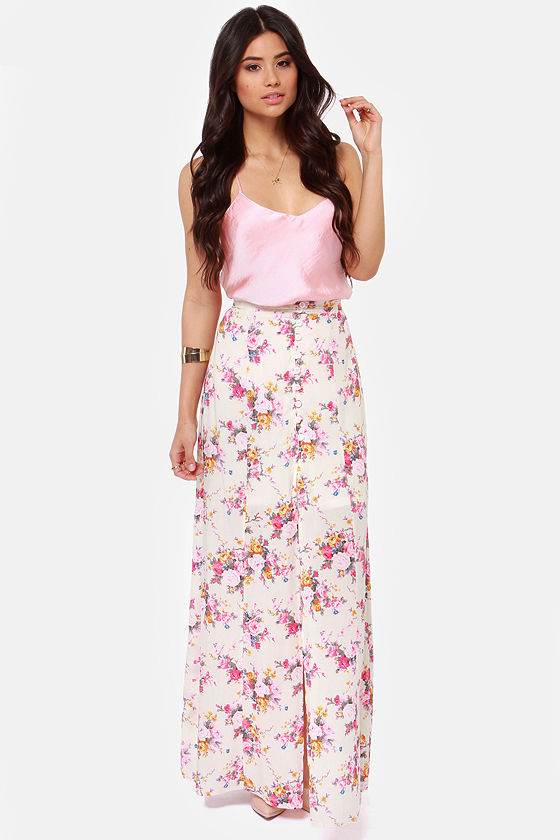 Beautiful Floral Print Skirt - Cream Skirt - Maxi Skirt - High ...