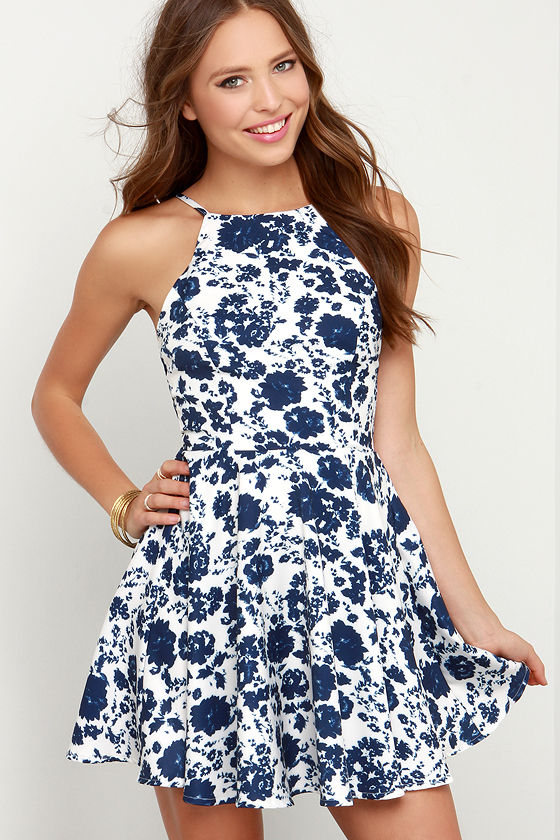 Floral Print Dress - Ivory and Navy Blue Dress - Skater Dress ...