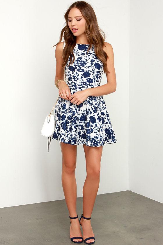 In Living Splendor Ivory and Navy Blue Floral Print Dress 2