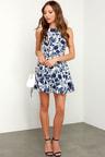 Floral Print Dress - Ivory and Navy Blue Dress - Skater Dress - Fit ... 77f999a9df33