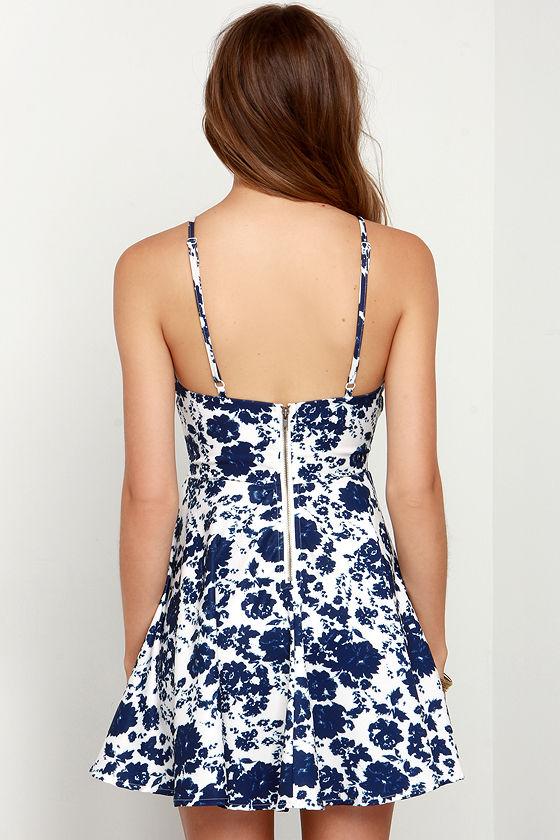 In Living Splendor Ivory and Navy Blue Floral Print Dress 4