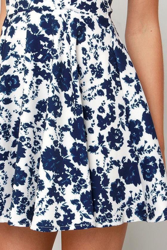 In Living Splendor Ivory and Navy Blue Floral Print Dress 5