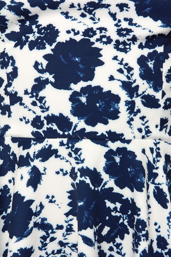 In Living Splendor Ivory and Navy Blue Floral Print Dress 6