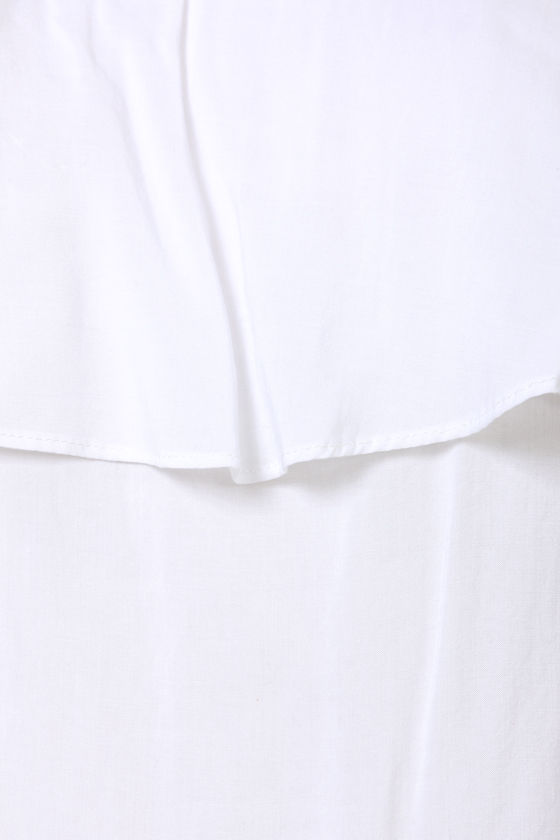 Flutter You Doing? Off-the-Shoulder White Top at Lulus.com!