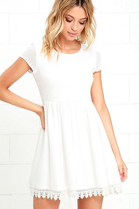 Off White Short Sleeve Dress - Off White Crochet Dress - Babydoll ...