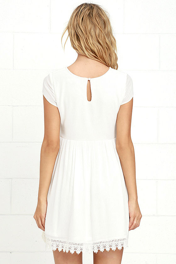 Off White Short Sleeve Dress - Off White Crochet Dress - Babydoll ...