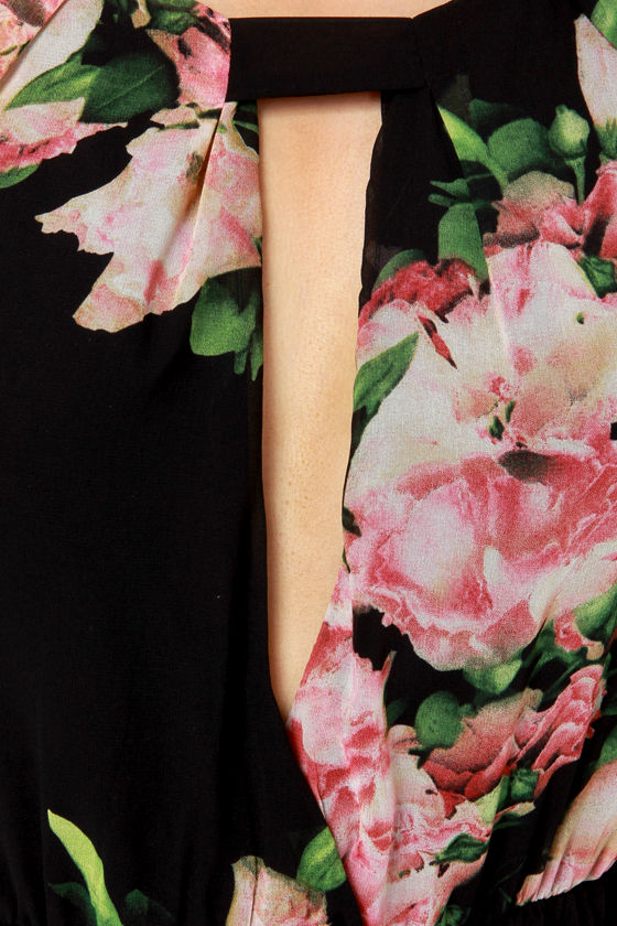 Reverse Juliette Black Floral Print Romper at Lulus.com!