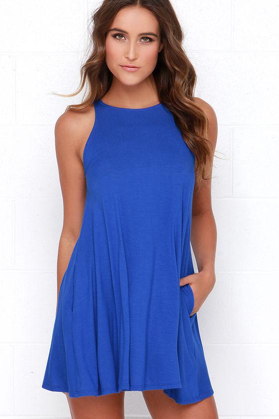 Chic Royal Blue Dress - Sleeveless Dress - Trapeze Dress ... - photo #2