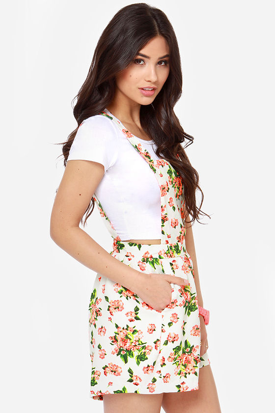 Reverse Flower Power Ivory Floral Print Overalls at Lulus.com!