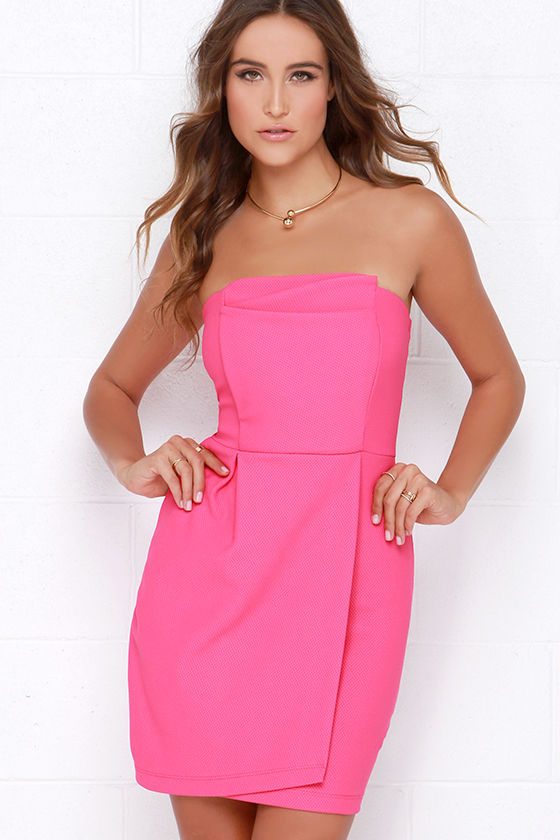 f383f61b21b53 Cute Hot Pink Dress - Strapless Dress - Wrap Dress - $42.00