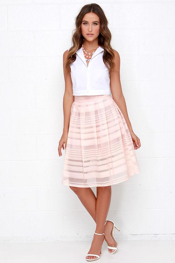 Lovely Peach Skirt - Midi Skirt - Mesh Skirt - $61.00