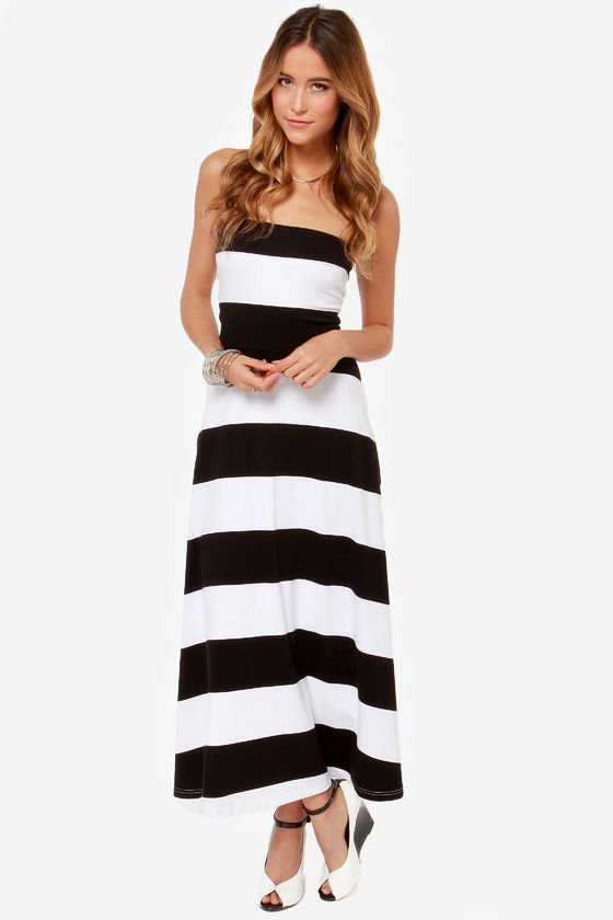 All Bands on Deck Black and White Striped Maxi Dress at Lulus.com!