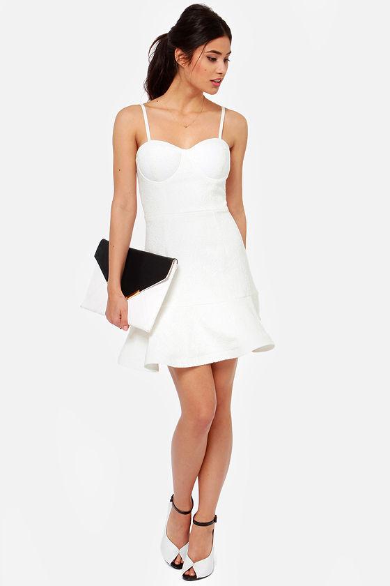 Sexy White Dress - Bustier Dress - Jacquard Dress - $73.00