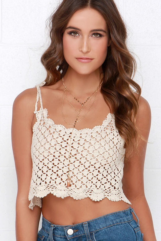 Billabong Dream Lover Top Crochet Top Cream Crop Top 4495