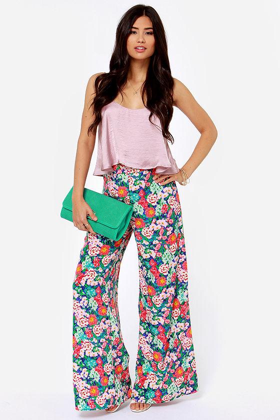 5aebfb09ba Lovely Floral Print Pants - High-Waisted Pants - Wide-Leg Pants - $61.00