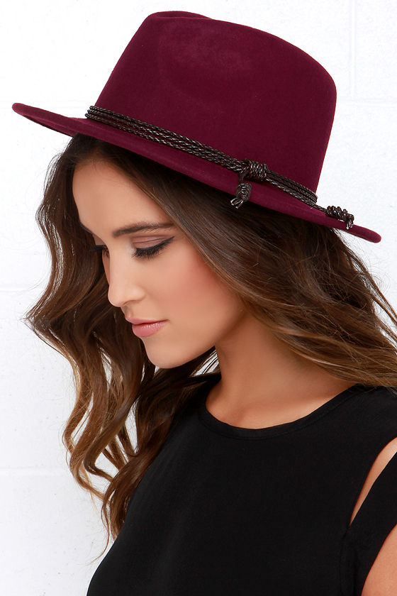 Burgundy Hat - Wool Hat - Fedora Hat -  34.00 a843a06fa