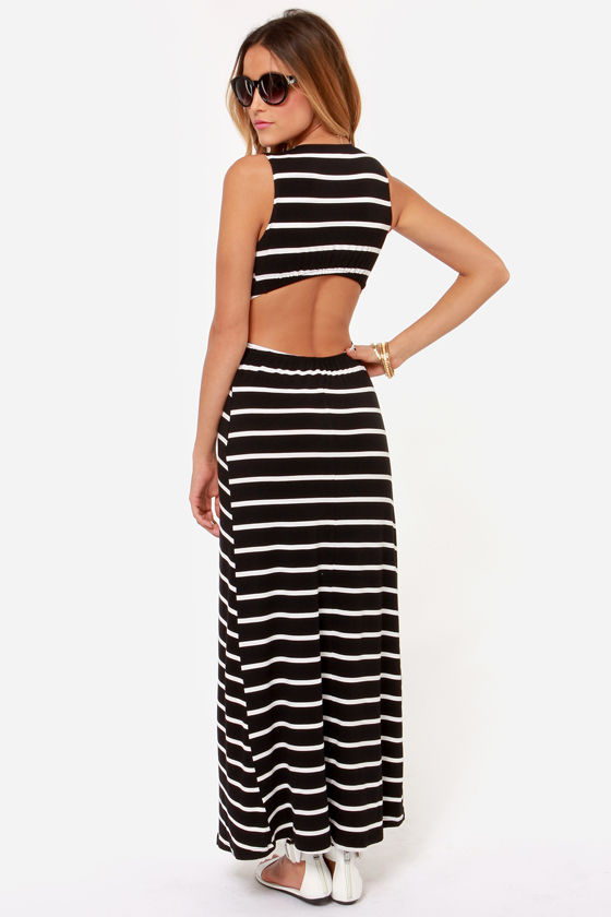 Stripe it Rich Ivory and Black Striped Maxi Dress at Lulus.com!