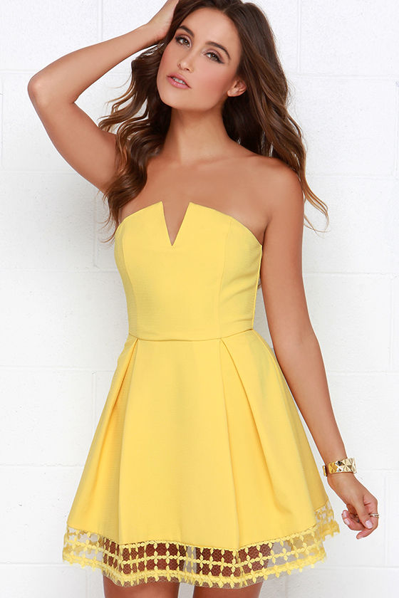 Pretty Yellow Dress - Strapless Dress - Embroidered