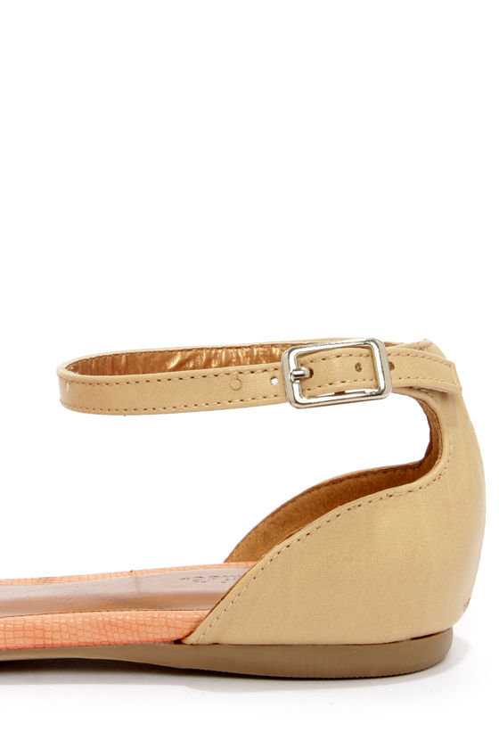 Promise Wira Coral and Beige D'Orsay Pointed Flats at Lulus.com!