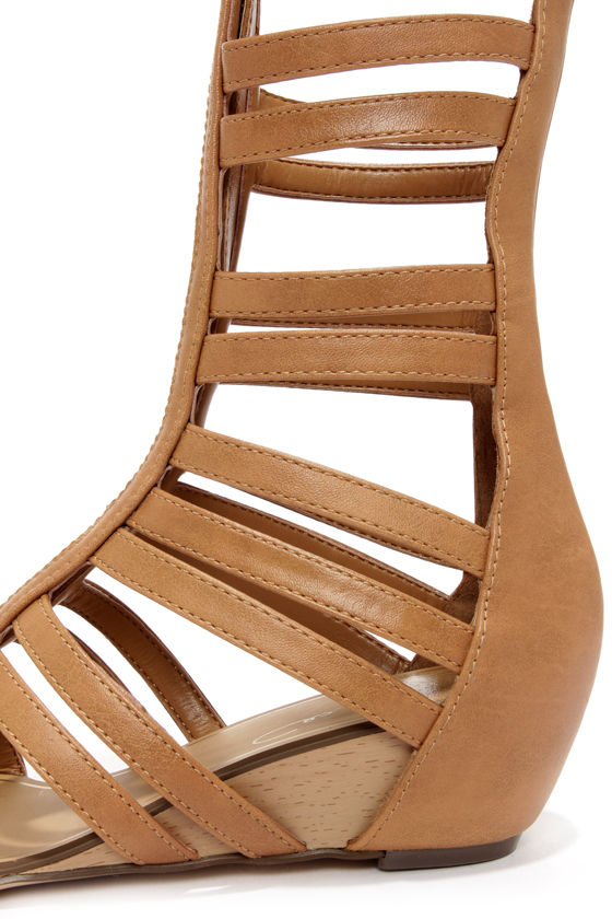 Report Signature Mesa Tan Tall Caged Gladiator Sandals at Lulus.com!