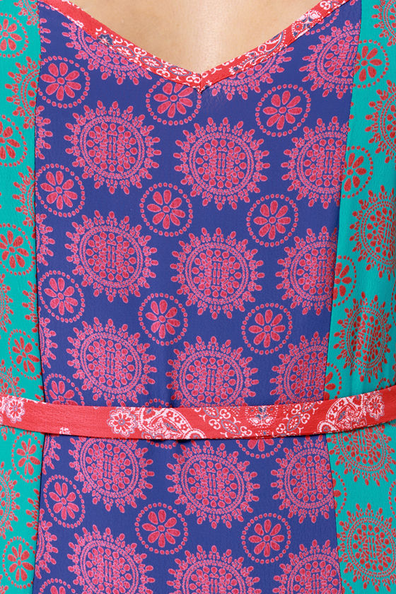Lucy Love Mystic Red and Blue Print Maxi Dress at Lulus.com!
