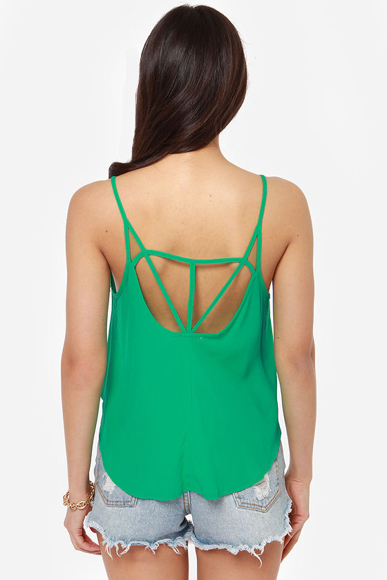 Strappy Hour Green Tank Top at Lulus.com!
