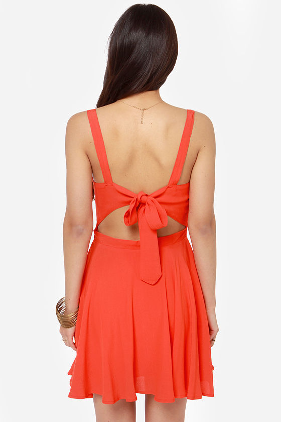 Rhythm My Tie Backless Red Orange Dress at Lulus.com!