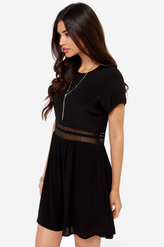 Rhythm My Tee Black Babydoll Dress at Lulus.com!