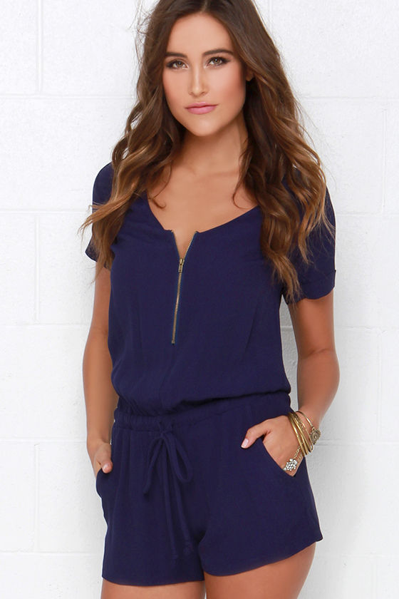 23121c062 Chic Navy Blue Romper - Short-Sleeved Romper - V Neck Romper -  42.00