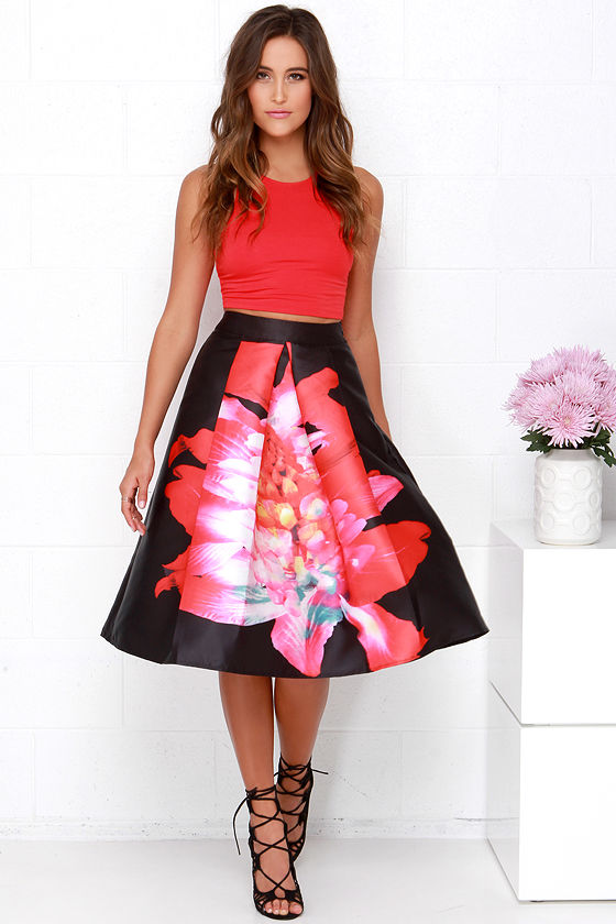 Chic Black Floral Print Skirt - Midi Skirt - High-Waisted Skirt ...
