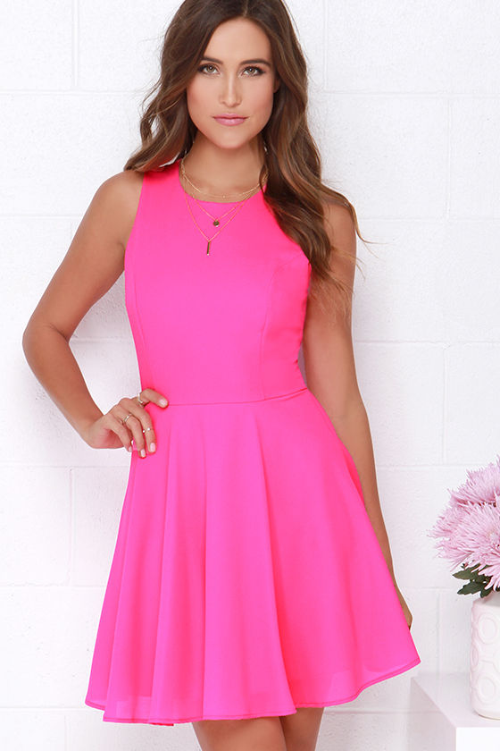 9b68084b1a23 Hot Pink Dress - Skater Dress - Fit-and-Flare Dress -  48.00