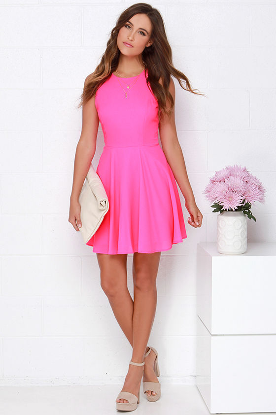 2c35c5c1a35 Hot Pink Dress - Skater Dress - Fit-and-Flare Dress -  48.00