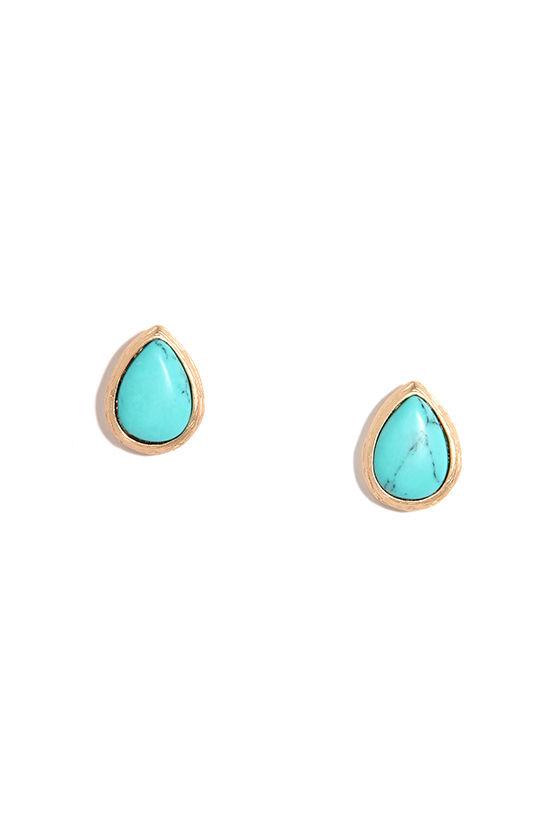 df1a9a202 Turquoise Earrings - Gold Earrings - Stud Earrings - $10.00