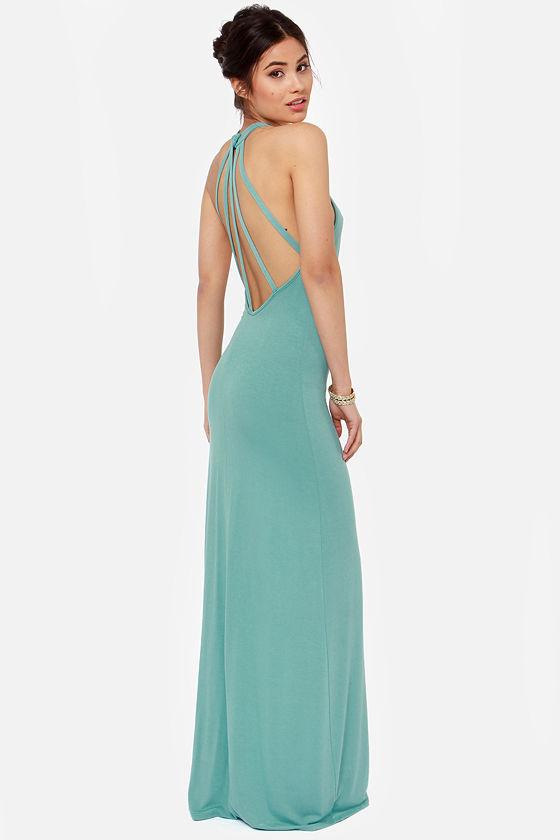 Sexy Seafoam Dress - Maxi Dress - Halter Dress - $53.00