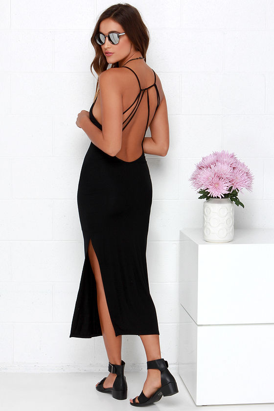 Chic Black Dress - Midi Dress - Backless Dress - $42.00