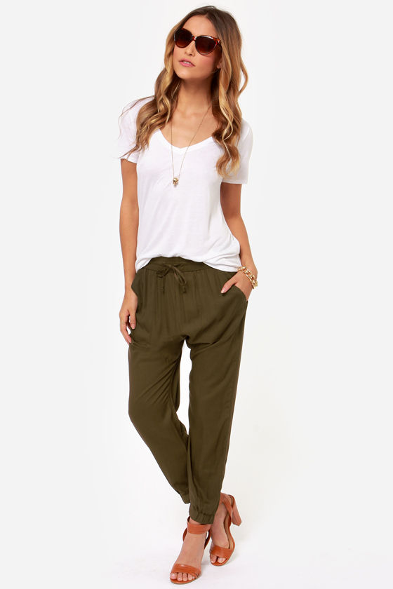 Obey Outsider Olive Green Harem Pants at Lulus.com!