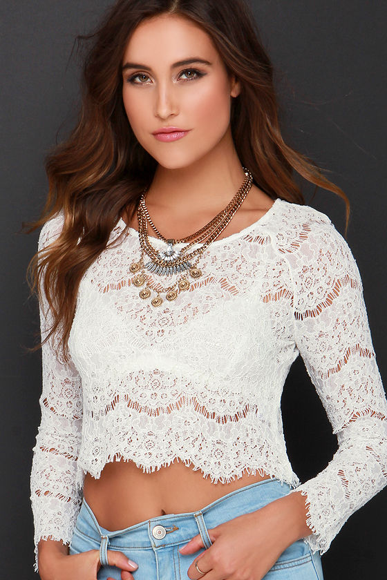 6833cbebac886 Sexy Ivory Top - Lace Top - Crop Top - Long Sleeve Top -  48.00