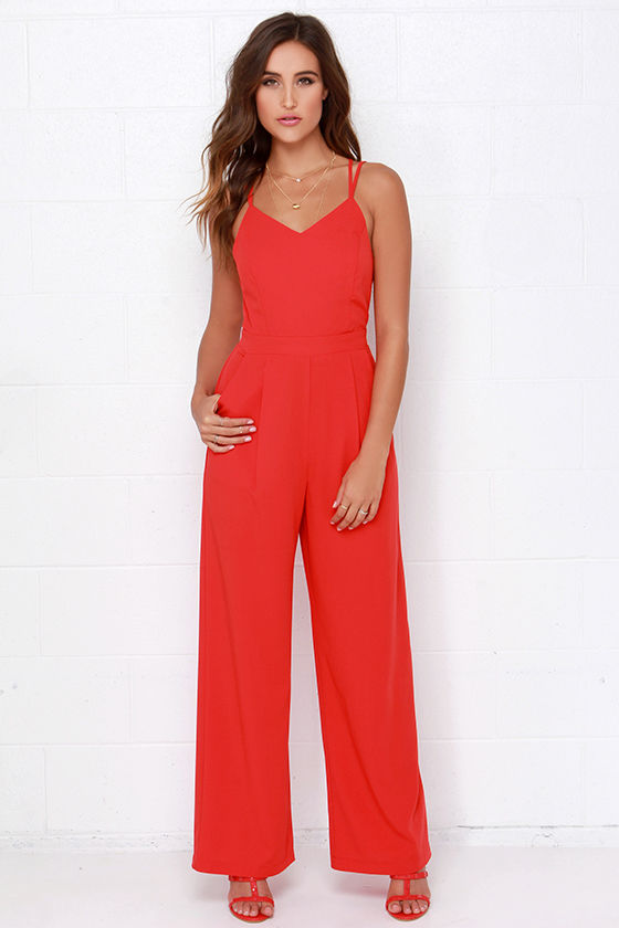 Sexy Red Jumpsuit - Backless Jumpsuit - Wide Leg Jumpsuit - $113.00