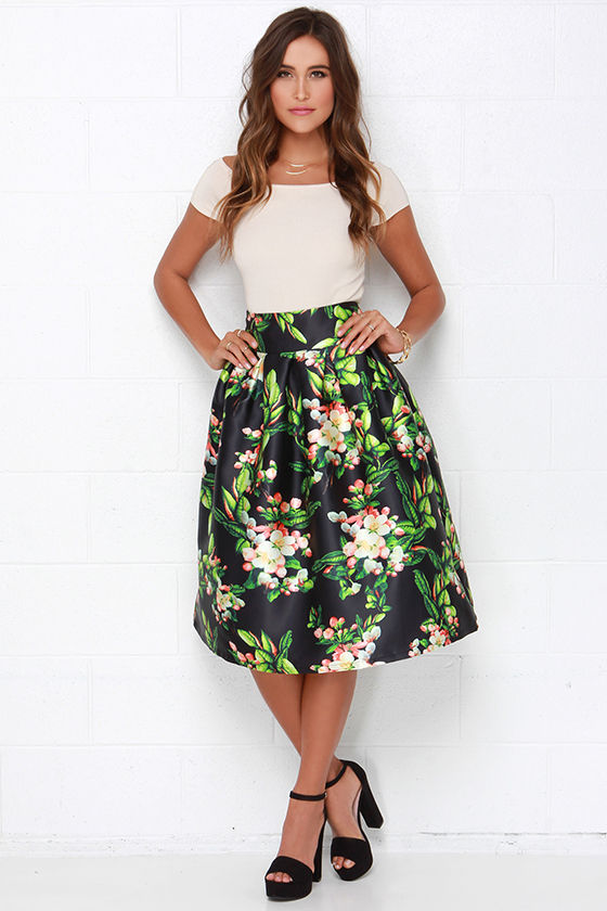 Lovely Black Skirt - Floral Print Skirt - Pleated Skirt - $84.00