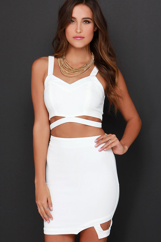 Sexy Ivory Dress - Two-Piece Dress - Bodycon Dress - $74.00