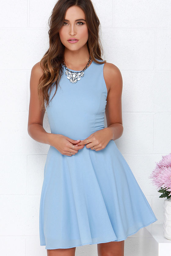 Light Blue Dress - Skater Dress - Fit-and-Flare Dress - $48.00