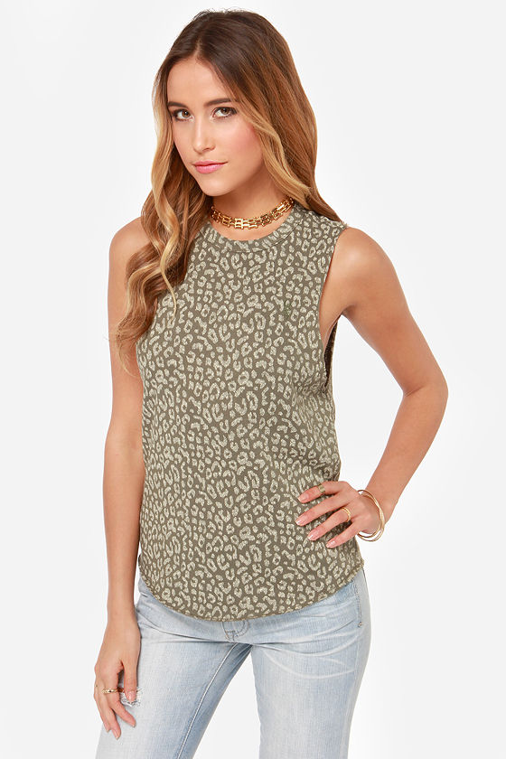 Obey Echo Mountain Olive Leopard Print Muscle Tee at Lulus.com!