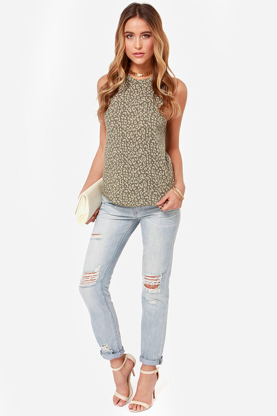 89c921b23b0 Obey Echo Mountain - Leopard Print Top - Olive Green Tee -  37.00