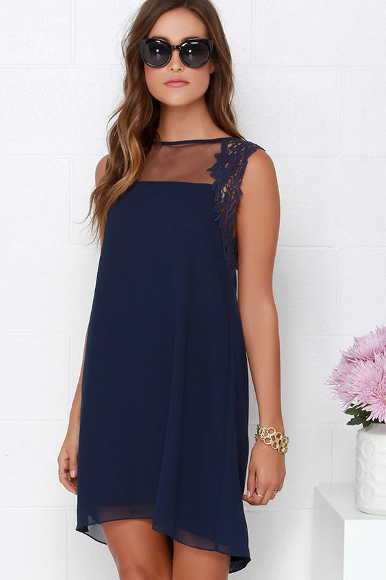 Mesh and Lace Dress - Navy Blue Dress - Shift Dress - $64.00