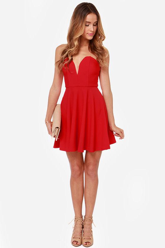 Strapless Dress - Red Dress - Sweetheart Dress - $37.00