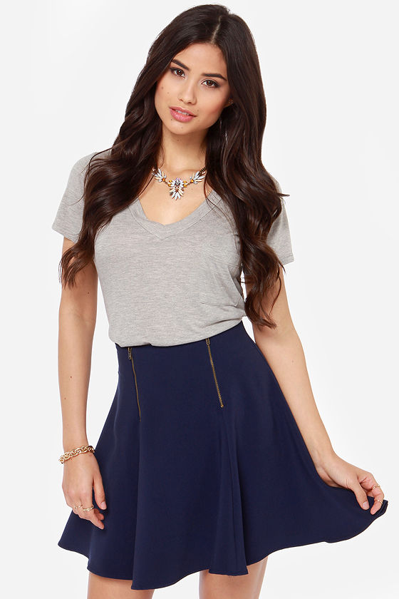 Cute Navy Blue Skirt - High-Waisted Skirt - Skater Skirt - $37.00