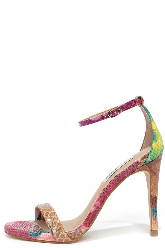 c9ca709e15b Steve Madden Stecy - Floral Snakeskin Print Ankle Strap Heel