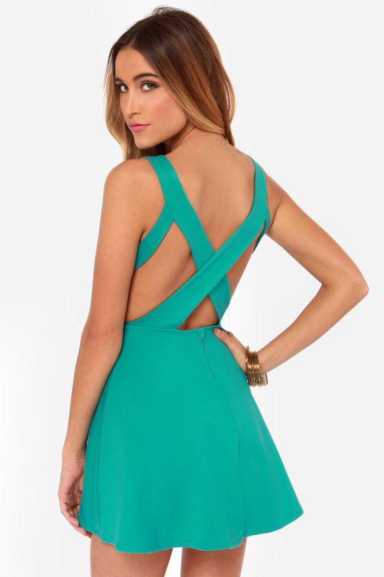 Flirty Teal Dress - Skater Dress - Fit and Flare Dress - $39.00